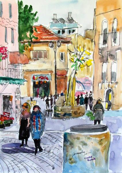 Painting - Jerusalem Street Scene by Linda Novick