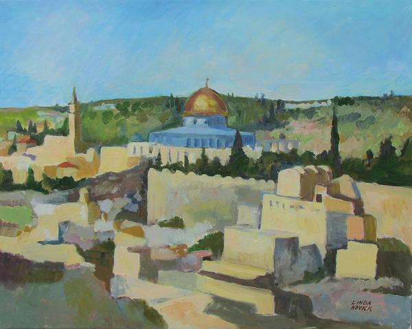 Painting - Jeruselem Rooftops by Linda Novick