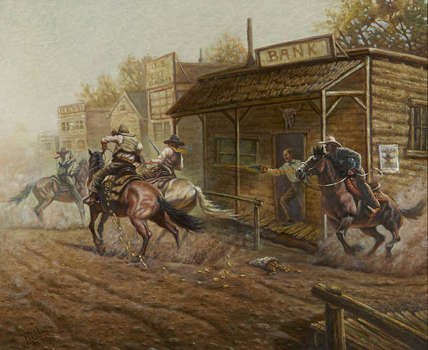 Trains Painting - Jesse James Bank Robbery by Gregory Perillo