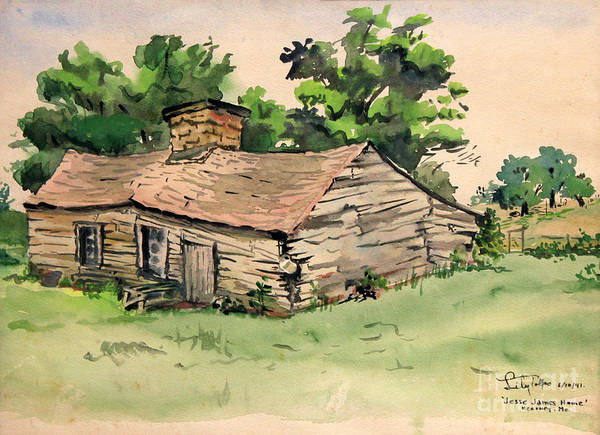 Painting - Jesse James Home - Clay County Missouri  1941 by Art By Tolpo Collection