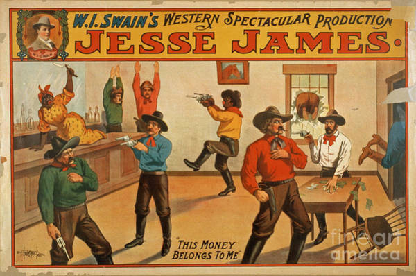 Gunfight Wall Art - Photograph - Jesse James Spectacular Production Poster by Edward Fielding