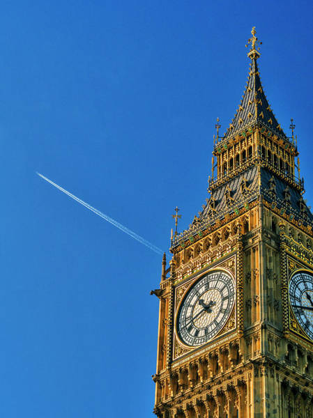 The Clock Tower Photograph - Jest Flying Past Big Ben, London, Uk by Doug Armand