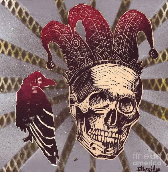 Linoleum Mixed Media - Jester With Raven by William p Etheridge jr