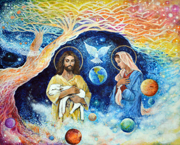 Wall Art - Painting - Jesus And Mary Cloud Colored Christ Come by Ashleigh Dyan Bayer