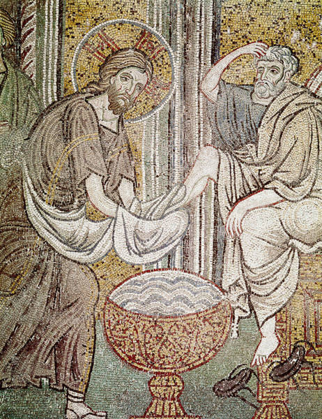 Mosaic Photograph - Jesus And Saint Peter, Detail From Jesus Washing The Feet Of The Apostle Mosaic by Byzantine School