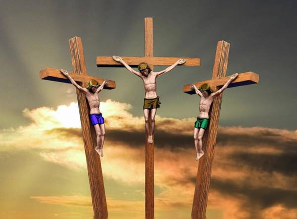Angle Drawing - Jesus And The Two Thieves On The Cross by John Short
