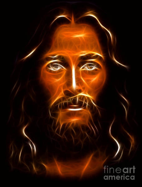 Wall Art - Mixed Media - Brilliant Jesus Christ Portrait by Pamela Johnson