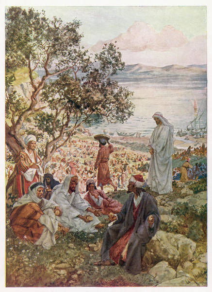 Wall Art - Drawing - Jesus Feeds Five Thousand  People by Mary Evans Picture Library