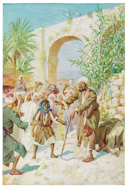 Wall Art - Drawing - Jesus Heals The Blind Beggar by Mary Evans Picture Library