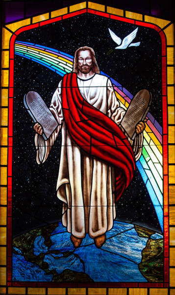 Photograph - Jesus In Stain Glass by Randy Sylvia