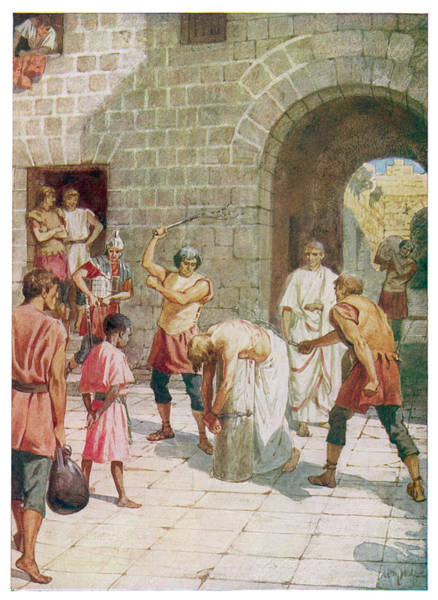 Pontius Pilate Wall Art - Drawing - Jesus Is Scourged At The  Orders by Mary Evans Picture Library