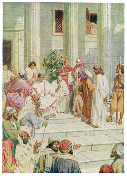 Pontius Pilate Wall Art - Drawing - Jesus Is Taken Before  Pontius Pilate by Mary Evans Picture Library