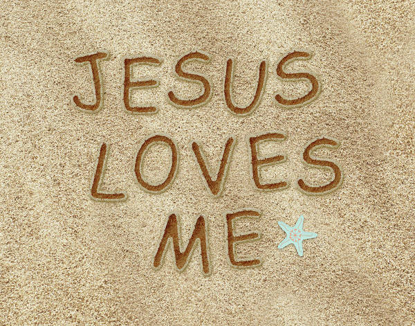 Wall Art - Painting - Jesus Loves Me Sand by Tara Moss