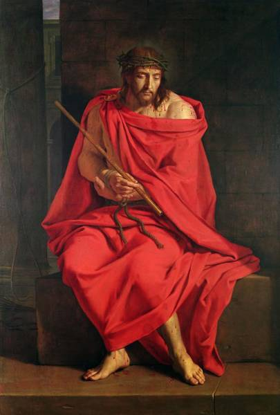 Jesus Photograph - Jesus Mocked Oil On Canvas by Philippe de Champaigne