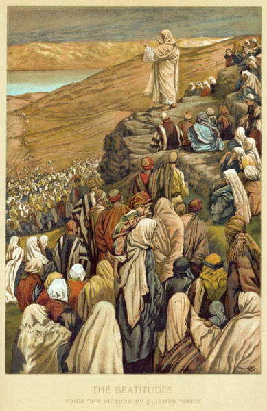 Wall Art - Drawing - Jesus Preaches The Sermon On  The Mount by Mary Evans Picture Library