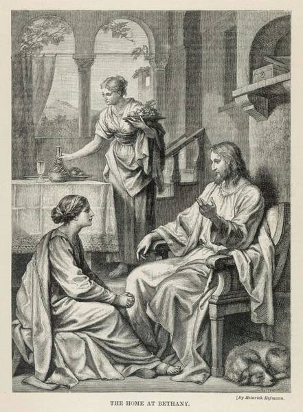 Wall Art - Drawing - Jesus Talks With Mary While  Martha by Mary Evans Picture Library