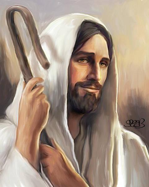 Wall Art - Mixed Media - Jesus The Shepherd by Mark Spears