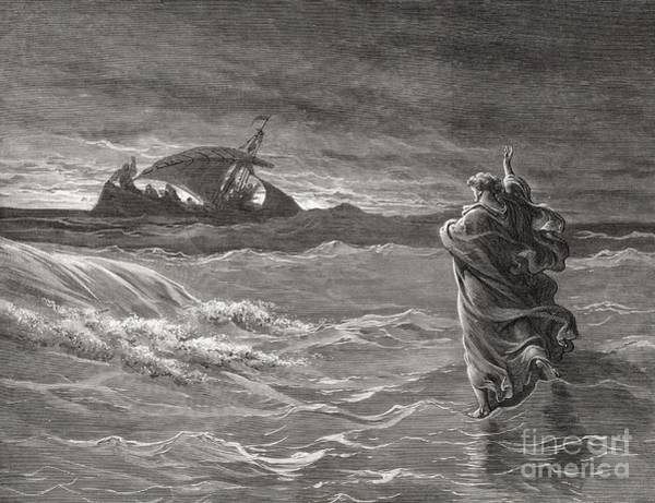 Miracle Drawing - Jesus Walking On The Sea John 6 19 21 by Gustave Dore