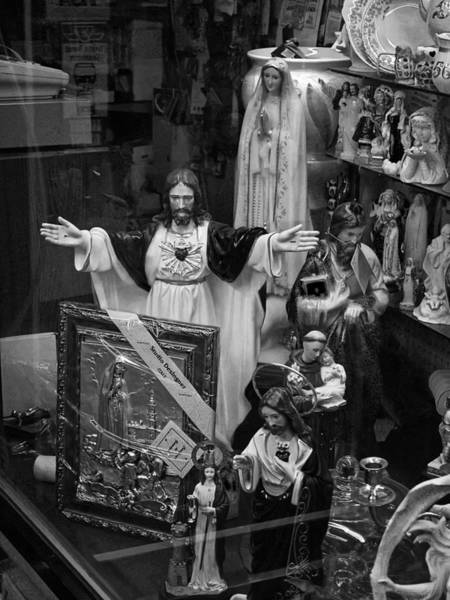 Photograph - Jesus With Arms Wide Open Religious Figurines In A Shop Window In Toronto by Randall Nyhof