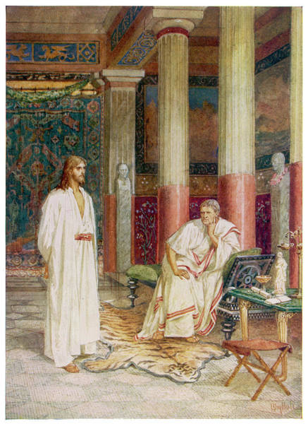 Pontius Pilate Wall Art - Drawing - Jesus's Interview With Pontius Pilate by Mary Evans Picture Library