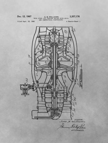 Vintage Airplane Drawing - Jet Engine Patent Drawing by Dan Sproul