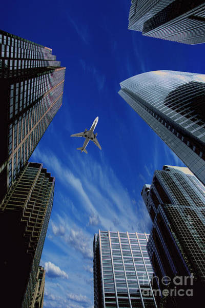 Hijack Wall Art - Photograph - Jet Flying Over City by Mike Agliolo