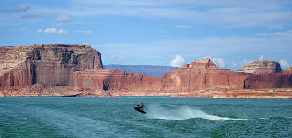 Motorboat Photograph - Jet Ski With Red Rock Formations Beyond by Timothy Hearsum