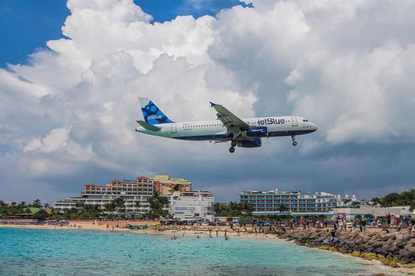 Jetblue Wall Art - Photograph - jetBlue in St. Maarten by David Gleeson