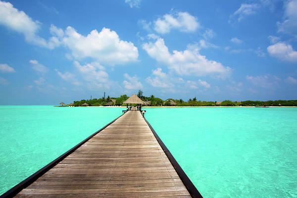Wall Art - Photograph - Jetty With Cabana Over Crystal Clear by Chris Caldicott