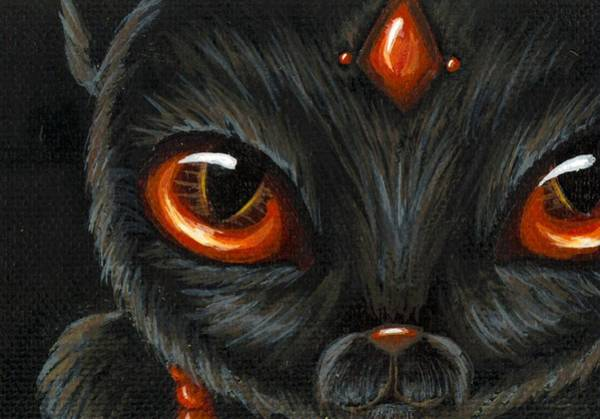 Wall Art - Painting - Jeweled Kitty 9 Carnelian by Elaina  Wagner