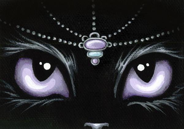 Jewel Painting - Jeweled Kitty Lilac Topaz by Elaina  Wagner