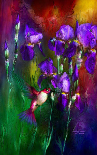 Purple Iris Mixed Media - Jewels Of Summer by Carol Cavalaris
