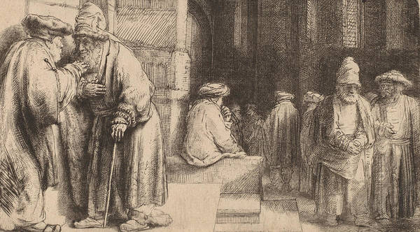 Print Drawing - Jews In The Synagogue by Rembrandt