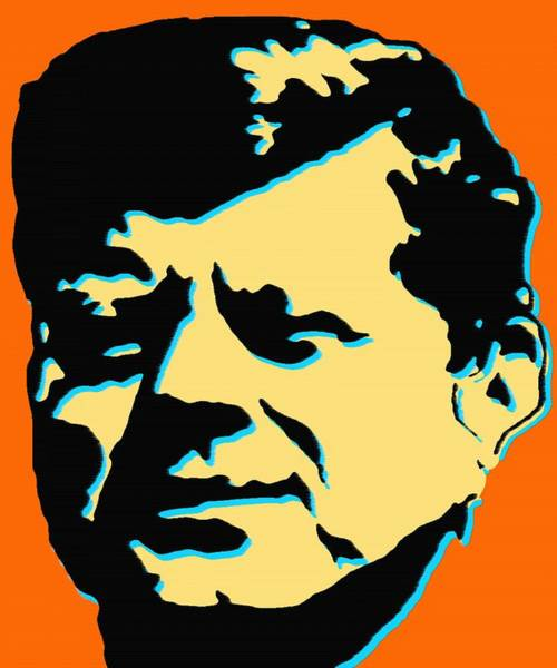 Painting - John F Kennedy - Jfk Orange Pop Art by Peter Potter