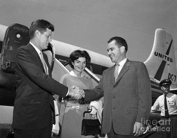 Photograph - Jfk Jackie And Nixon 1959 by Martin Konopacki Restoration
