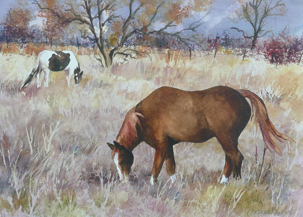 Grazing Wall Art - Painting - Jill's Horses On A November Day by Anne Gifford