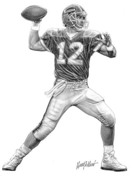 Nfl Drawing - Jim Kelly by Harry West