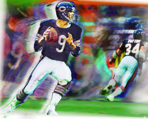 Painting - Jim Mcmahon With Walter Payton Chicago Bears by Tony Rubino