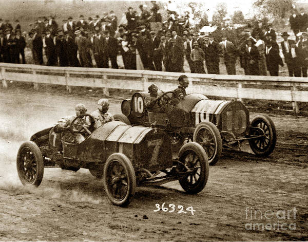 Photograph - Jim Parsons Race Car No.7 And Henry North Meadows Track Seattle Washington 1913 by California Views Archives Mr Pat Hathaway Archives