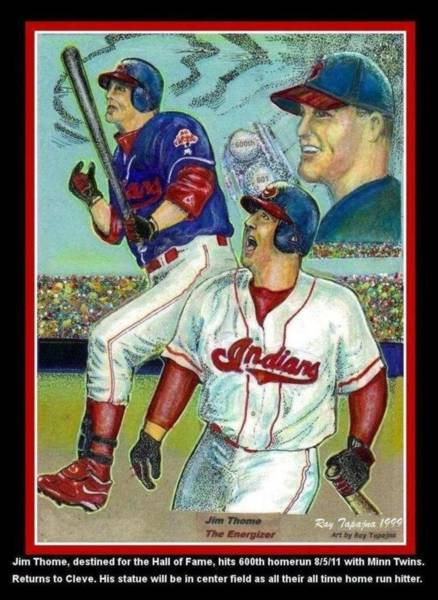 Baseball Hall Of Fame Mixed Media - Jim Thome Cleveland Indians by Ray Tapajna