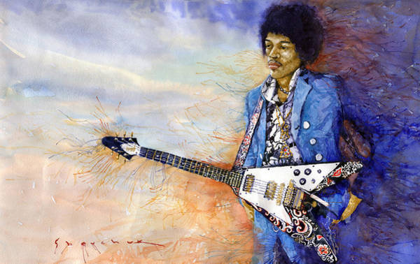 Figurative Wall Art - Painting - Jimi Hendrix 10 by Yuriy Shevchuk