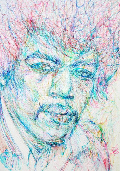 Experience Drawing - Jimi Hendrix - Colored Pens Portrait by Fabrizio Cassetta