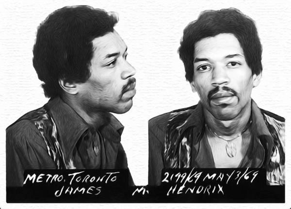 Wall Art - Photograph - Jimi Hendrix Mugshot Black And White by Bill Cannon