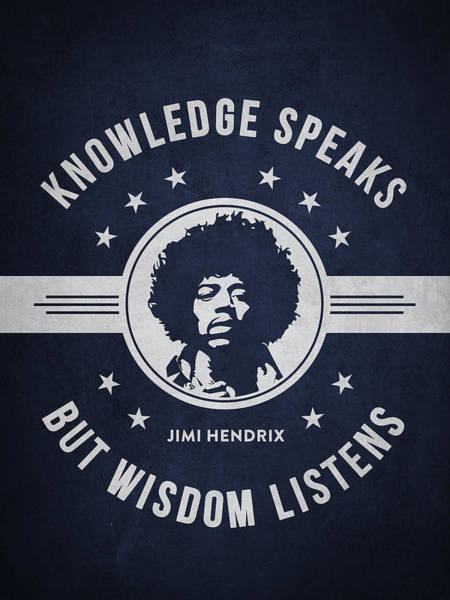 Wall Art - Digital Art - Jimi Hendrix - Navy Blue by Aged Pixel
