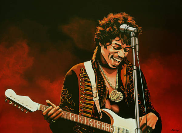 Hard Rock Wall Art - Painting - Jimi Hendrix Painting by Paul Meijering
