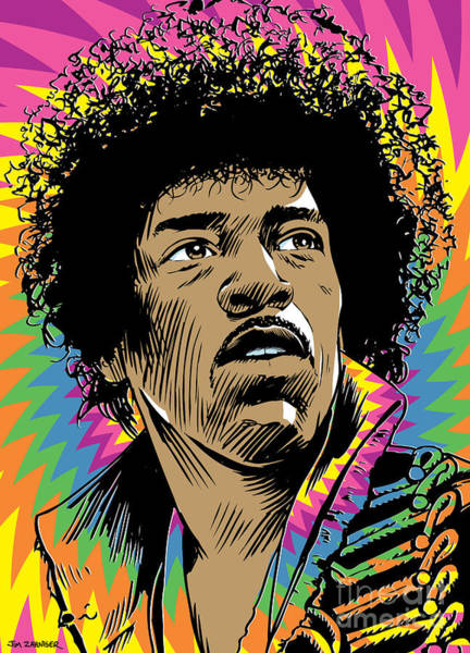Digital Illustration Digital Art - Jimi Hendrix Pop Art by Jim Zahniser