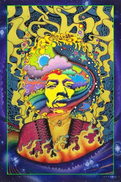 Trippy Wall Art - Painting - Jimi Hendrix Rainbow King by Jeff Hopp