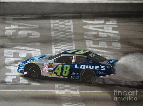Wall Art - Drawing - Jimmie Johnson Wins At Las Vegas by Paul Kuras