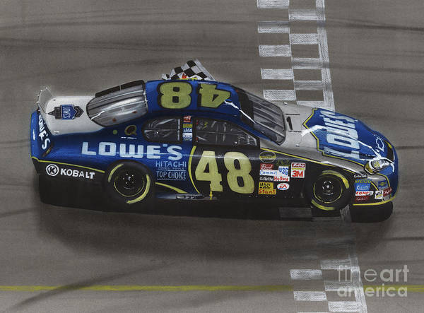 Flag Drawing - Jimmie Johnson Wins by Paul Kuras