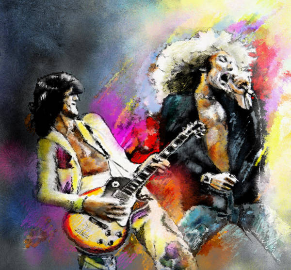 Rock Music Jimmy Page Wall Art - Painting - Jimmy Page And Robert Plant Led Zeppelin by Miki De Goodaboom